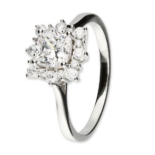 Ladies Silver | Cluster Ring | Cushion Square Shaped
